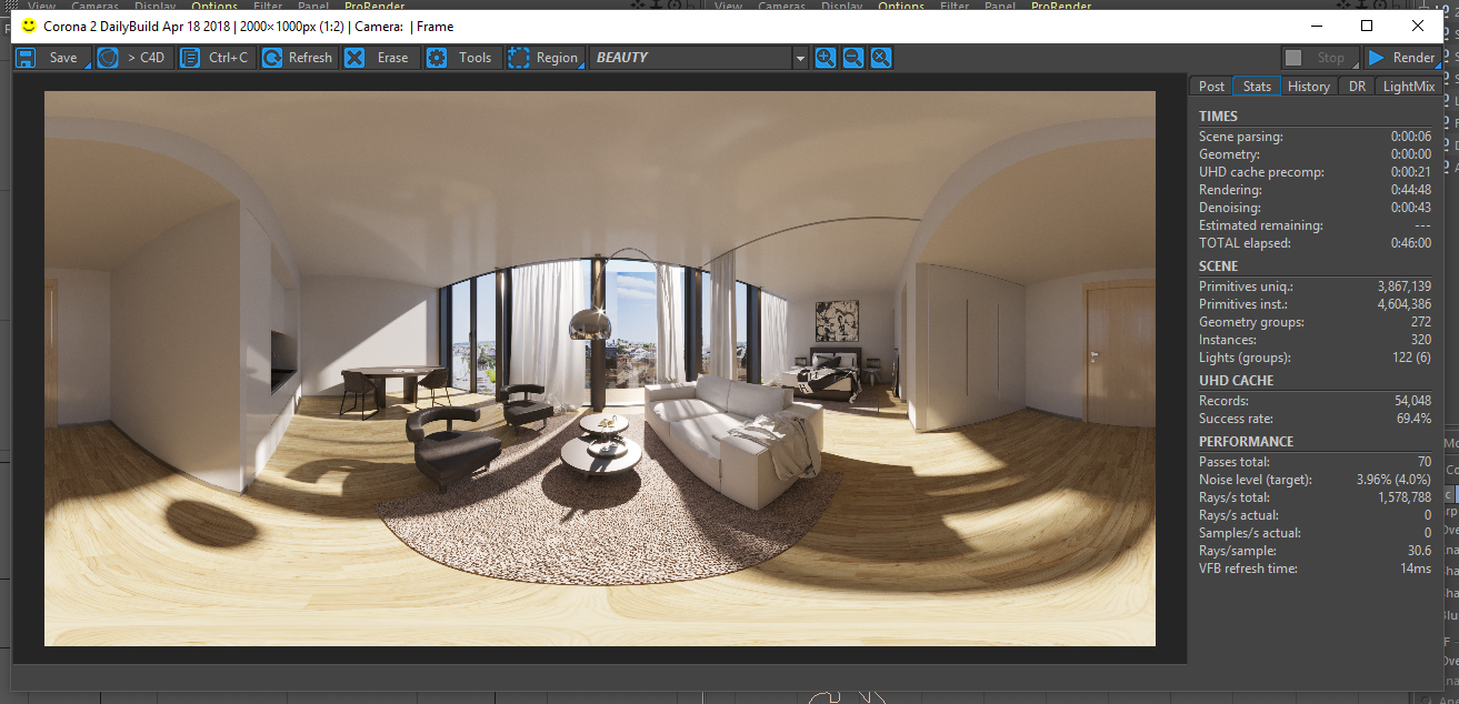 How to render a 360 spherical image with Corona Renderer in