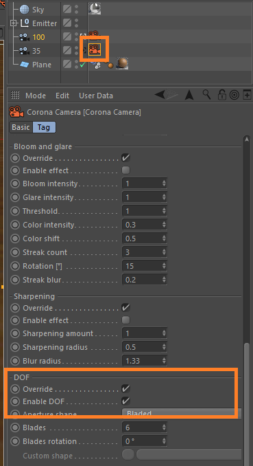 How to enable and control DOF in Corona for C4D? : Corona Renderer
