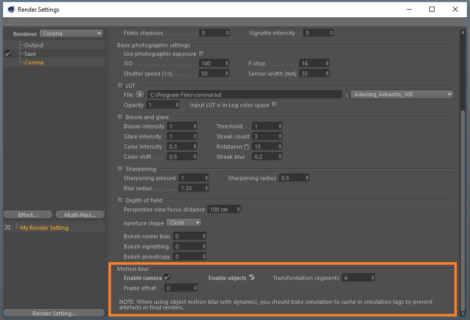 How to enable and control motion blur? : Corona Renderer Helpdesk