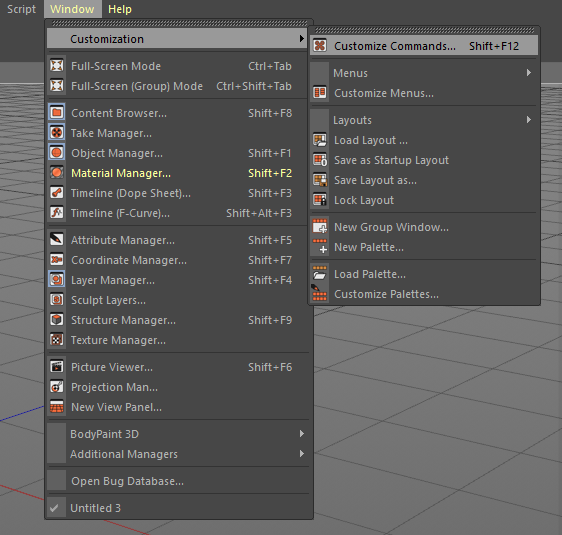 How to add Corona Renderer shortcuts to the Cinema 4D menu