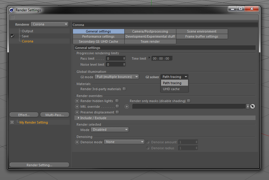 How to use UHD Cache in Corona Renderer for C4D? : Corona