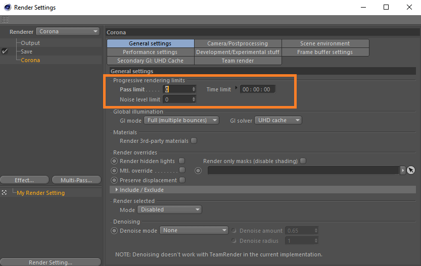 How to set limit for rendering in Corona Renderer for C4D