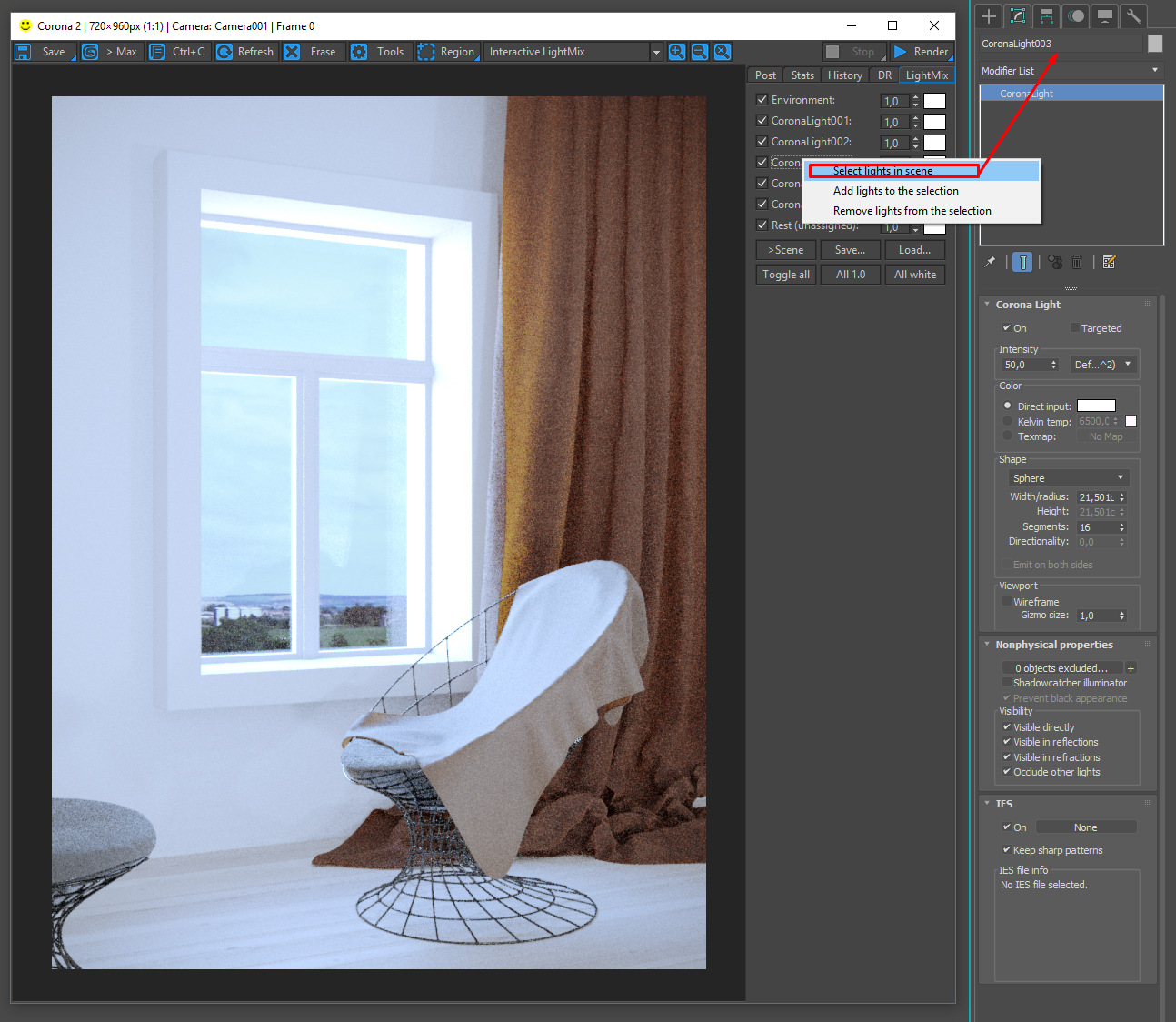 How to use interactive LightMix? : Corona Renderer Helpdesk