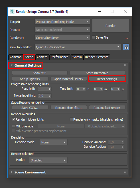 How to reset settings to their default values? : Corona Renderer